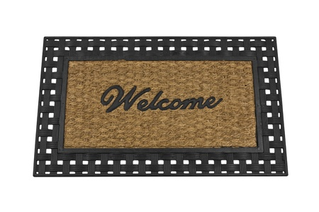 Welcome mat isolated on white. photo