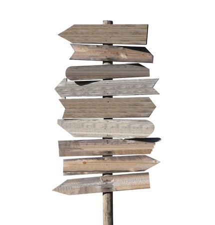 flecha direccion: Gran cartel en blanco flecha de direcci�n de madera, aislado en blanco.