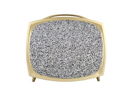 1950's vintage television with static screen isolated on white. Stock Photo - 12910576