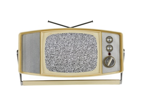 Vintage 1960's portable television with static screen and handle stand. Stock Photo - 12910583