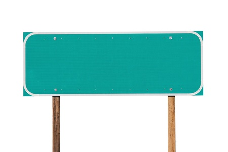 green street sign: Blank green highway sign isolated on white. Stock Photo