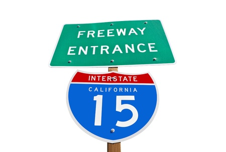 Interstate 15 freeway entrance sign isolated in California's Mojave desert. Stock Photo - 12910580