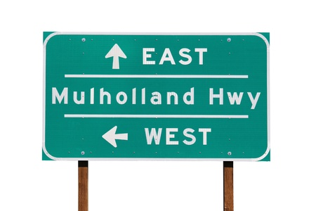 los angeles county: Mulholland Highway sign near Los Angeles California.