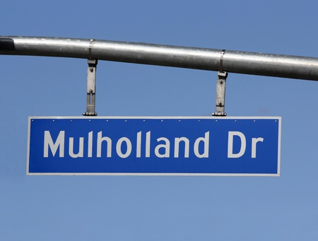 Famous Mulholland Drive sign in the hills above Hollywood California Stock Photo - 12910581
