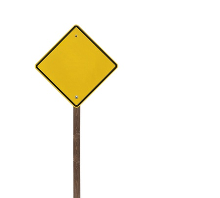 Tall blank isolated caution sign on a wooden post. Stock Photo - 13223301