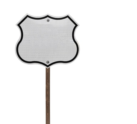 Tall blank isolated interstate sign on a wooden post