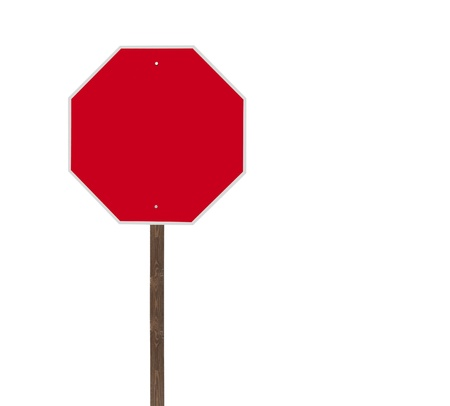 wait sign: Tall blank isolated stop sign on a wooden post  Stock Photo
