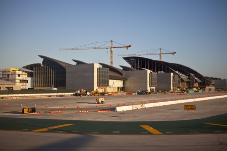 scheduled: Los Angeles, California, USA - April,14, 2011:  Construction nears completion at Los Angeles International Airports Tom Bradley terminal.  The expansion project is scheduled to open in 2013. Editorial