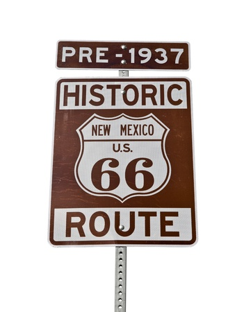 rt: Historic Route 66 New Mexico Sign Isolated.  Pre-1937.