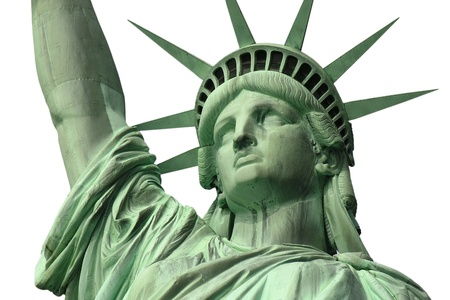 Isolated close up of New Yorks Statue of Liberty. Stock Photo