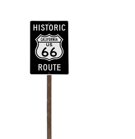Tall isolated historic route 66 sign on a wood post  Stock Photo - 13273960