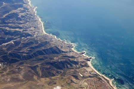 Aerial photo of Laguna Beach California and the Orange County coast
