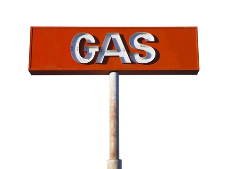 Vintage neon gas sign isolated on white  photo