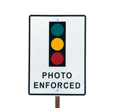 Photo Enforced traffic light warning sign in sunny Beverly Hills California    Stock Photo - 13306974