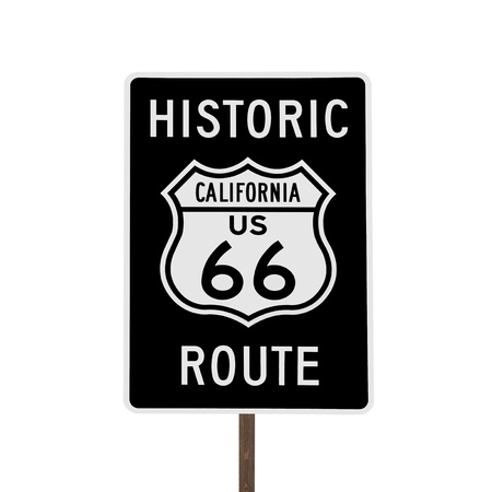 rt: Historic California US Route 66 road sign isolated