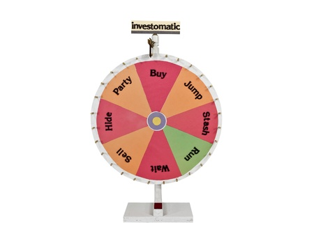 spinning wheel: Homemade roulette investment wheel of chance. Stock Photo