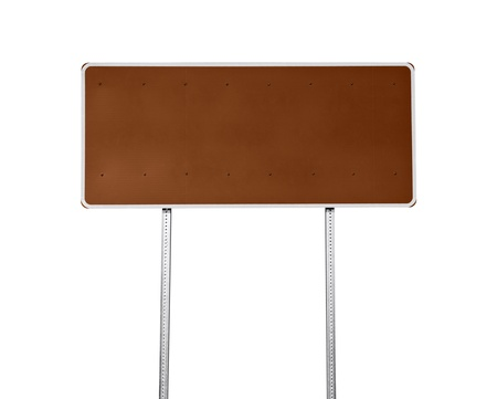Blank brown highway sign isolated on white. Stock Photo - 13385815