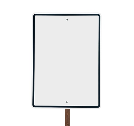 Blank White Vertical Road Sign Isolated Stock Photo - 13385816