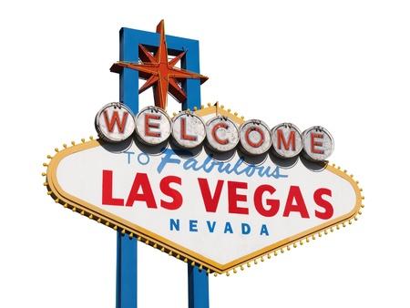 welcome sign: Historique de Las Vegas Bienvenue signer isol� sur fond blanc.
