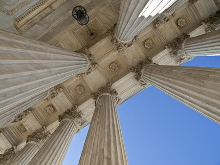 Historic US supreme court building columns in Washington DC.