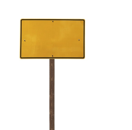 Tall blank isolated yellow road sign on a wooden post  Stock Photo - 13419095