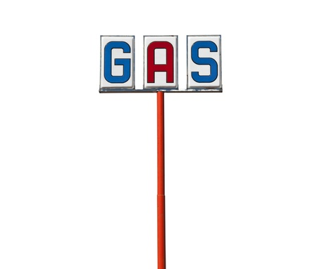 Tall vintage gas sign isolated on white  Stock Photo - 13419094
