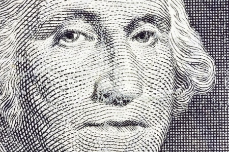 Extreme Macro of George Washington on the US Dollar Bill  photo