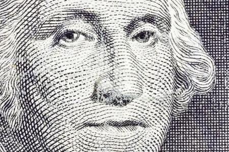 george washington: Macro extrema de George Washington en el billete de dólar EE.UU.