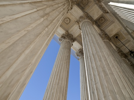 United States supreme court building columns in Washington DC.
