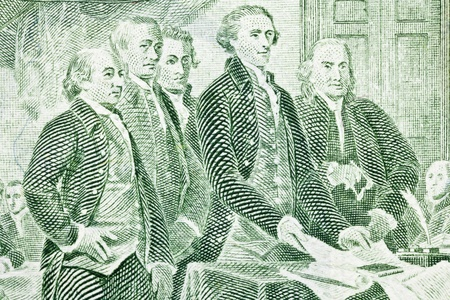 greenback: Macro of US two dollar bill.  Jefferson, Franklin, Adams and other Colonials presenting the Declaration of Independence to Congress.