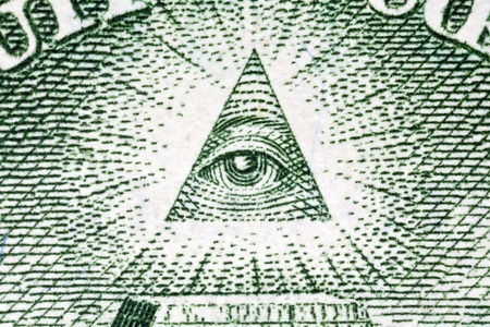 eye of providence: Eye of Providence macro on the back of the US one dollar bill.