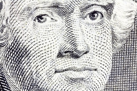 us dollar bill: Thomas Jefferson Macro Close Up US Two Dollar Bill