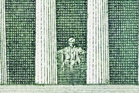 Extreme Macro of the Lincoln Memorial on the US Five Dollar Bill. Stock Photo - 13522114