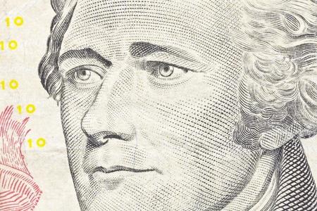 Macro of Alexander Hamilton on the US ten dollar bill Stock Photo - 13520734