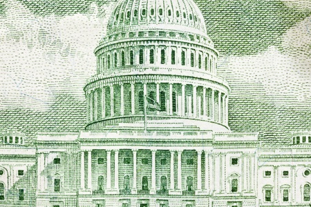 US Capitol building macro on the back of the fifty dollar bill