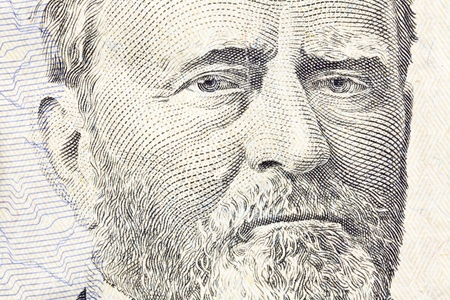 fifty dollar bill: Macro of Ulysses S Grant on the US fifty dollar bill  Stock Photo