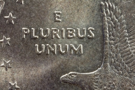 E Pluribus Unum on the US One Dollar Coin Stock Photo - 13520764