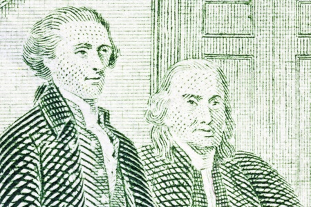 jefferson: Wild Colonials Thomas Jefferson and Benjamin Franklin extreme macro of the US Two Dollar Bill.