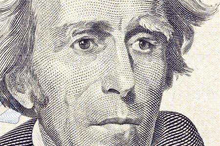 us currency: Macro of Andrew jackson on the US twenty dollar bill.