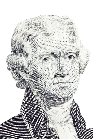 Thomas Jefferson isolated vertical macro on the US Two Dollar Bill.