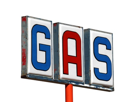 Old mojave desert gas sign isolated on white. photo