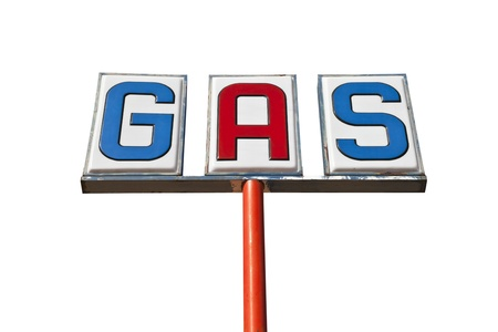 Old isolated gas sign in the Mojave Desert.   Stock Photo - 13585733