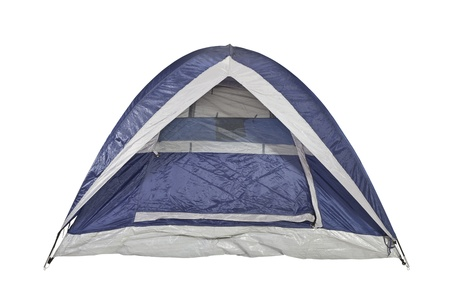 camping tent: Clean new bright blue tent isolated with clipping path  Stock Photo