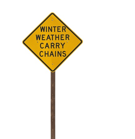 Tall winter weather carry chains warning sign isolated on white. photo