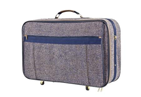 Vintage blue tweed suitcase isolated isolated on white Stock Photo - 13779270
