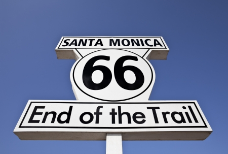 Route 66 end of the Trail sign in the city of Santa Monica.