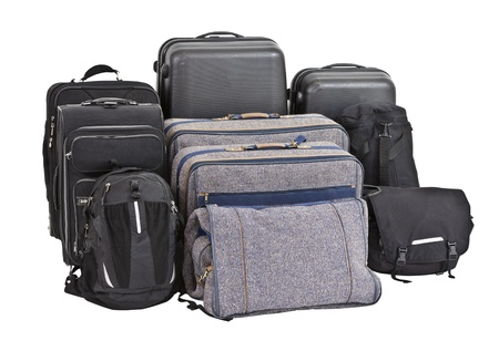 Nine old bags and suitcases ready for travel. Stock Photo - 13866480