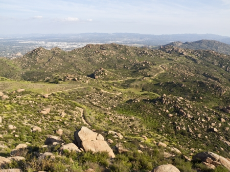 san fernando valley: Popular Rocky Peak Park and the San Fernando Valley above Los Angeles, California. Stock Photo