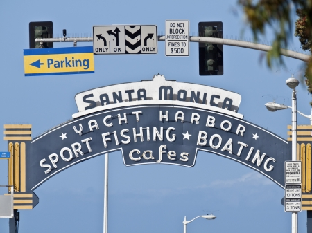 Santa Monica, California, USA - May 26, 2012:  Santa Monica pier entrance sign.  The pier