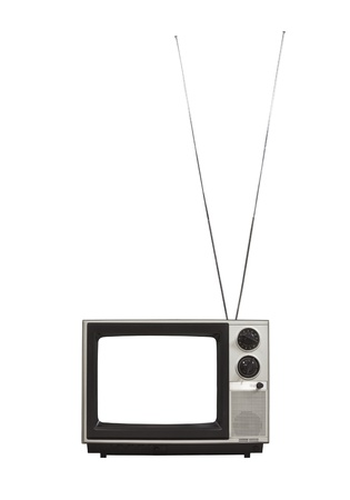 s video: Blank screen portable vintage television with long antennas up   Isolated on white